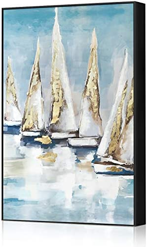 Adecuado Sea Wall Art Hand Painted Ocean Sailboat Oil Painting Large Framed Canvas Painting Nautical Picture Gold Boat Artwork Coastal Print