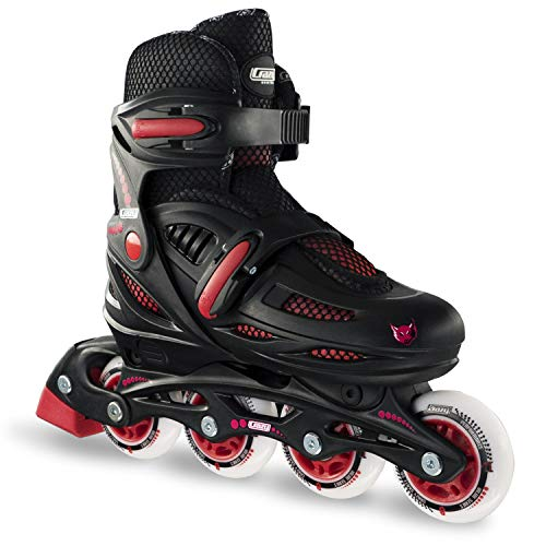 Crazy Skates Adjustable Inline Skates for Boys | Beginner Kids Roller Blades | Black with Red Model 148 Large (Sizes 5-8)