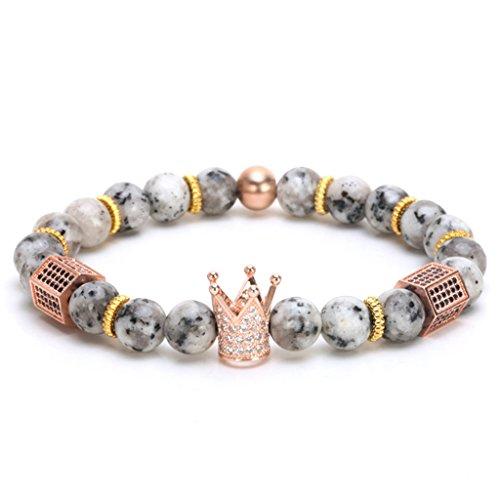 Joan Nunu CZ Crown King Charm Bracelet Men Women Black Matte Onyx Stone Beads -