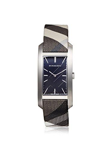 Burberry-Womens-BlackWhite-Heritage-Check-Leather-Strap-Black-Dial-Rectangular-Watch-BU9405