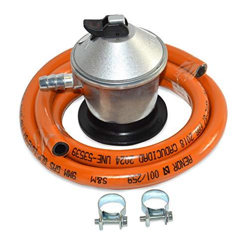 S&M 321771 Gasregelaar Butaanrubber M + 2 Koppelingen, 1,5 M Slang, Oranje