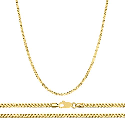 (Orostar 10K Yellow Gold 2mm Diamond Cut Square Franco Chain Necklace, 7