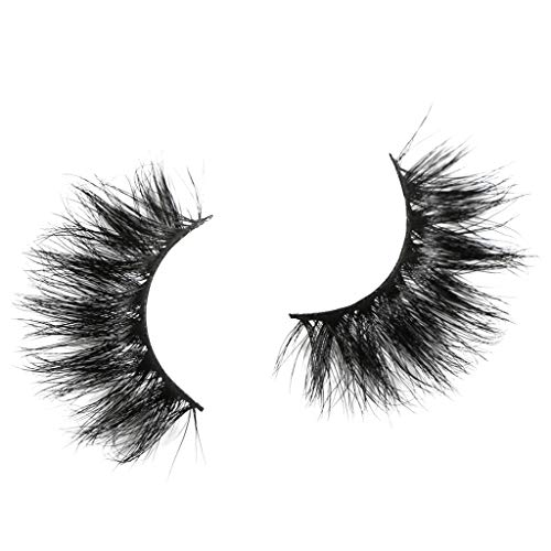 HJuyYuah False Eyelash 25mm 3D Mink Dramatic Makeup With Long Eyelash False Eyelashes (black)