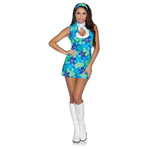 Cute Hippie Halloween Costumes - Underwraps Women's Flower, Blue/Green, Large