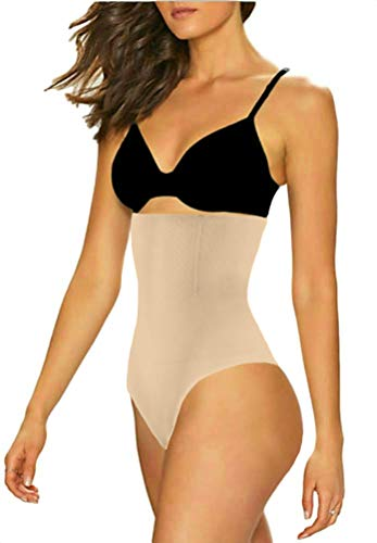ShaperQueen 102 Best Womens Waist Cincher Body Shaper Trimmer Trainer Slimmer Girdle Faja Bodysuit Short Slip Tummy Belly Weighloss Control Brief Corset Plus Size Underwear Shapewear Thong (3XL, Nude) -