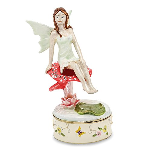 (Bejeweled Pewter Enamel Fairy Trinket Box)