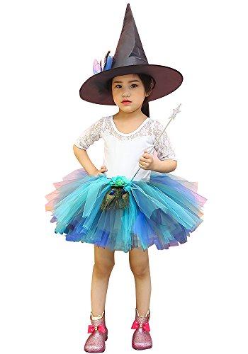 (AQTOPS Girls Peacock Fluffy Tutus Skirts Running Short Tutu Skirt)