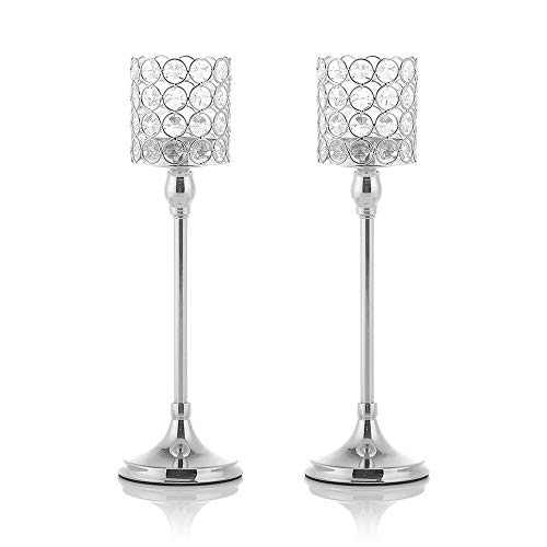 VINCIGANT 2PCS 14 Inches Tall Crystal Silver Candle Holders Pack of 2 for Modern Anniversary Celebration Wedding Coffee Table Decorative Centerpieces - International Silver Flower