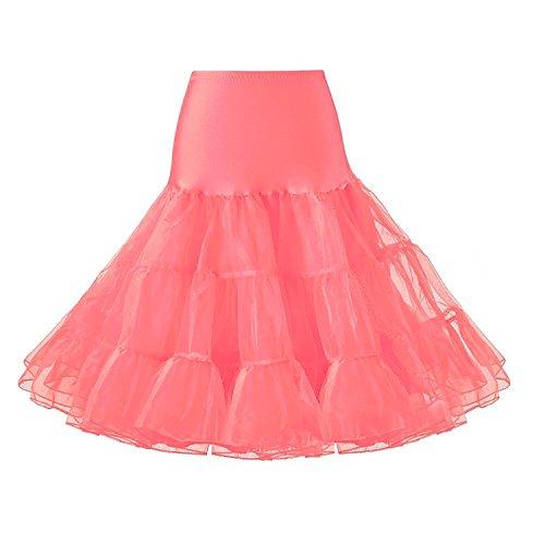 Ridory Womens Petticoat 1950s Vintage Skirts Crinoline Underskirt Slip Tutu (L, Pink) ()
