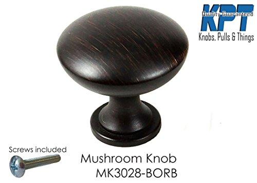 HardwareDirect Traditional Round Mushroom Style Kitchen Cabinet Knob Drawer Door Pull Handle Home Decorative Matte Black Brush Oil Rubbed Bronze Brushed Nickel (Single, Brushed Oil Rubbed Bronze) -