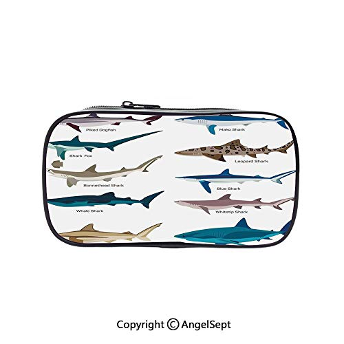 Big Capacity Pencil Case 1L Storage,Collection Types of Sharks Bronze Whaler and Piked Dogfish Fox Maritime Design Multi 5.1inches,Desk Pen Pencil Marker Stationery Organizer with Zipper for School &