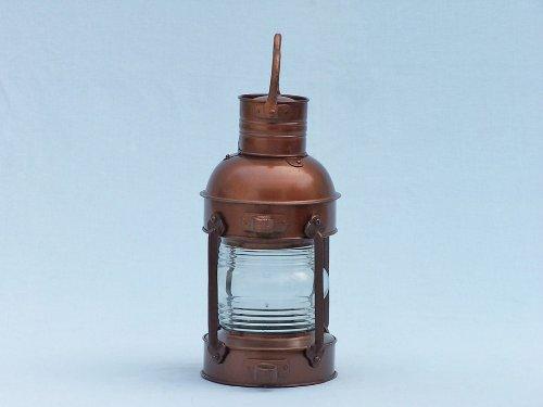 Antique Copper Anchor Oil Lantern 14'' - Rustic Oil Lantern - Beach Bedroom Decor