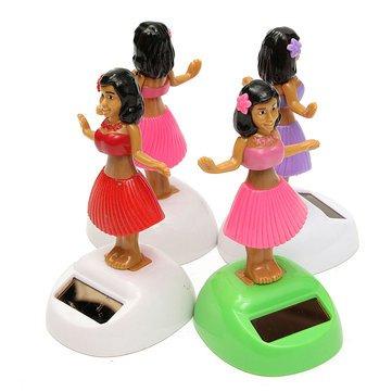 Dancing Hula Girl - Solar Dancing Hula Girl - 4Pcs Solar Powered Dancing Hula Girl Swinging Bobble Doll Gift Car Home Ornament ( Dancing Hula Girl Toy )