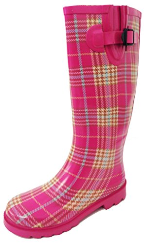 G4U Women's Rain Boots Multiple Styles Color Mid Calf Wellies Buckle Fashion Rubber Knee High Snow Shoes (6 B(M) US, Pink Plaid)