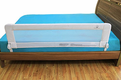Toddler Bed Rail Guard for Kids Twin, Double, Full Size Queen & King (White-XL)