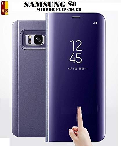 AE Mobile Accessories Mirror Flip Cover Semi Clear View Smart Cover Phone  S-View Clear, Kickstand FLIP Case for Samsung Galaxy S8 (Purple (Sensor  flip
