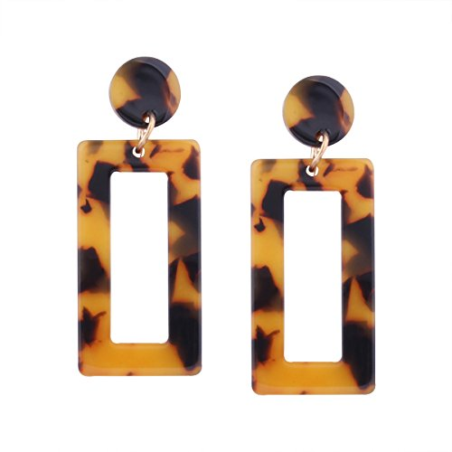 Figaro Design Hawksbill Square Earrings Geometric Multi-Layer S925 Sterling Silver Stud Pin Dangle Drop Tortoise Earring with Rock Crack Statement -