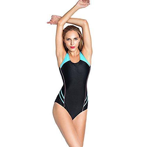 Casa Eingebauter Einteiliger Sport-Badeanzug der Frauen Racerback Badebekleidungs Trainings Schwimmen Kostüm Schlankheits Bademode Mehrfarbig