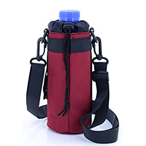 U-TIMES Water Bottle Holder 750 ml Nylon Water Bottle Carrier/Bag/Pouch/Case/Cover/Sleeve With Shoulder Strap & Belt Handle & Molle Accessories - Drawstring Closure(Red)