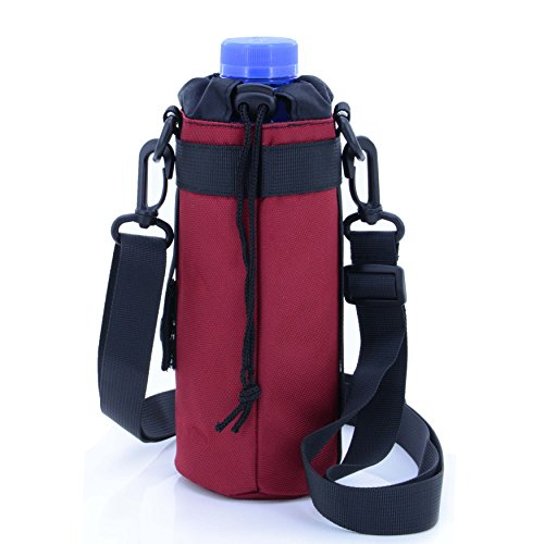 Nylon Bottle Carrier Mesh (U-TIMES Water Bottle Holder 750 ml Nylon Water Bottle Carrier/Bag/Pouch/Case/Cover/Sleeve With Shoulder Strap & Belt Handle & Molle Accessories - Drawstring Closure(Red))