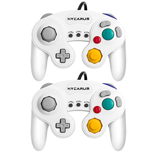 Gamecube Controller, Hycarus 2 Packs 9 Feet White Controller with Turbo and Slow Functions for Gamecube and Wii, Compatible with Nintendo Switch, Wii U and PC (Gamecube Controller Adapter Required)