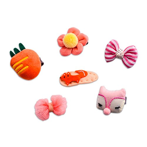 Orange 1 Set 6pcs Cloth fox bow radish flowers vegetable children hairpin T2M3