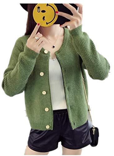 Abrigos Elegante De Fashion Color Pullover Pecho Mujer Grün Sólido Otoño Battercake Manga Casual Chaqueta Outerwear Punto Solo Knit Largo Casuales Mujeres Un ITwEHCnqg