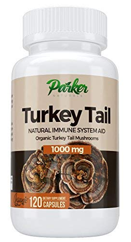 Premium Organic Turkey Tail Mushroom Capsules by Parker Naturals Supports Immune System Health. Nature s Original Superfood. 120 Capsules