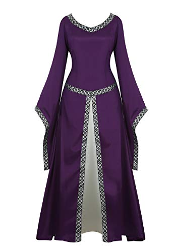 frawirshau Renaissance Costume Women Medieval Dress Queen Gown Retro Long Sleeve Dresses Role Play Dress Up Clothes Purple L
