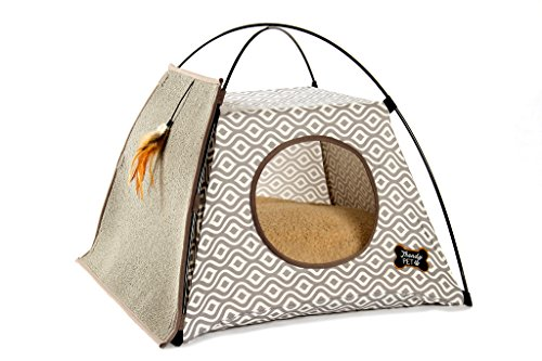 Trendy Pet Cat Tent with Attached Cat Scratcher | Removable Bolstered Microfiber Pillow - 21in x 21in x 18.5in - Gray