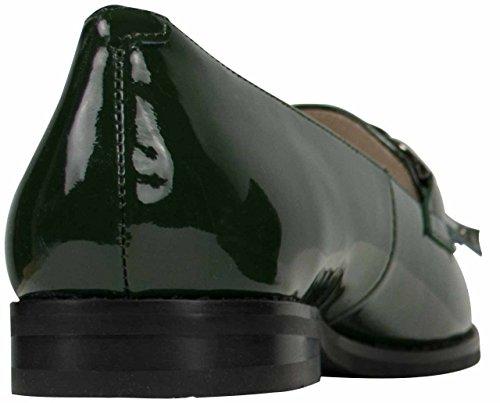 Damen Lackleder Loafer HARRIET Dunkelgrün mit Fransen handverarbeitet