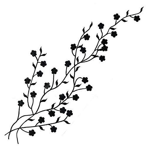 Tub Sour (Clothes Sticker Plum Embroidery Neckline Lace Applique Sew Craft Sewing Patch (Color - Black))