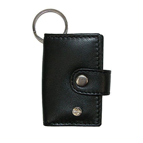 CTM Leather Scan Card Key Chain Wallet (Pack of 3), Black with Red Interior (Barcode Key Tags)