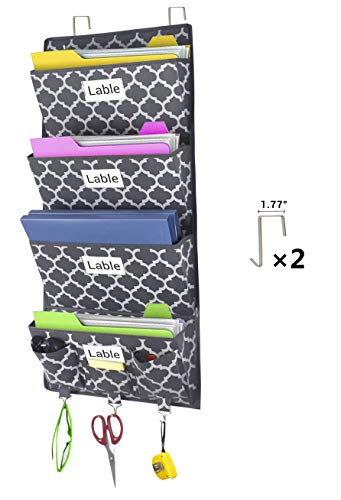 Homyfort Over The Door Hanging File Organizer, Office Supplies Storage Holder Wall Mount Pocket Chart for Magazine,Notebooks,Planners,File Folders,4 Large Pockets Grey Lantern Pattern