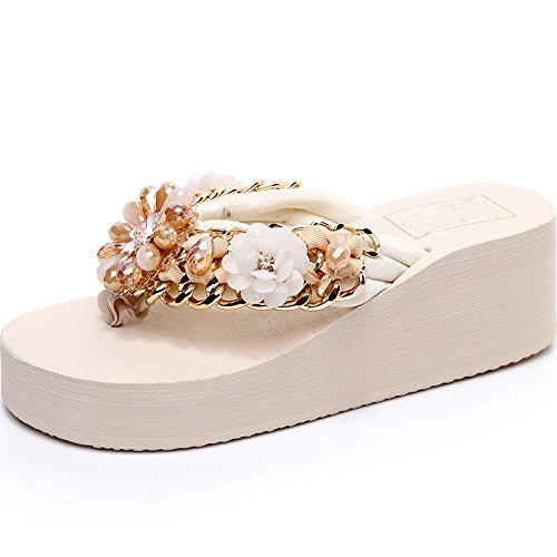 HGTYU Holiday Rhinestones Slippers Female Summer Diamond Wedges Flip Flops High Heels Antiskid Wear Fashion Beach Shoes Beige 7t6wqD