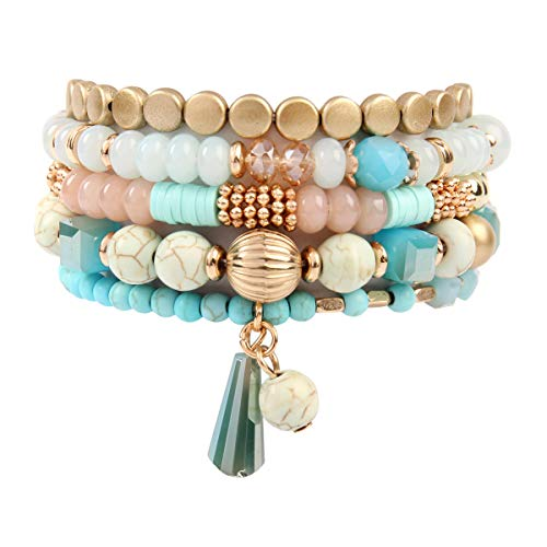 RIAH FASHION Bead Layering Multi Color Statement Bracelets - Stackable Beaded Strand Stretch Bangles (Bohemian Mix - Turquoise)