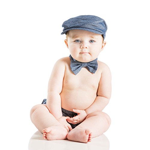 3 Piece Hat, Bow Tie and Diaper Cover Set for Baby (1-2 Years, Blue Jean) by juDanzy