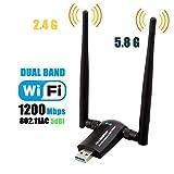 1200Mbps Wireless USB WiFi Adapter, Maxsoco WiFi Adapter,AC1200 Dual Band 802.11 ac/a/b/g/n,2.4GHz/300Mbps 5GHz/867Mbps High Gain Dual 2 X 5dBi Antennas Network WiFi USB 3.0 for Desktop (Black)