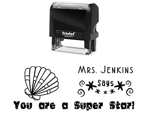 (Classroom Teacher Rubber Stamp, Self-Inking Custom You are a Super Star Student Stamper with Sea Shell Image. Size Approx. 7/8