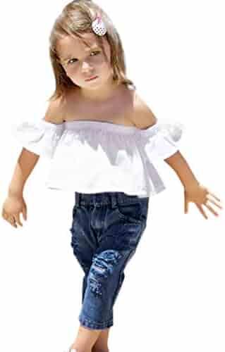 7c3239fac757b KONFA Teen Baby Girls Fashion Tops+Denim Pants+Headband,Suitable for 1-