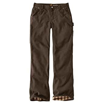 Carhartt Women's Relaxed-Fit Canvas Flannel-Lined Fulton Pant,Dark Brown (Closeout),6/Tall
