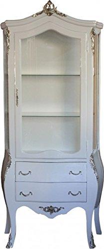 Casa Padrino Barock Vitrine Weiß/Silber- Limited Edition