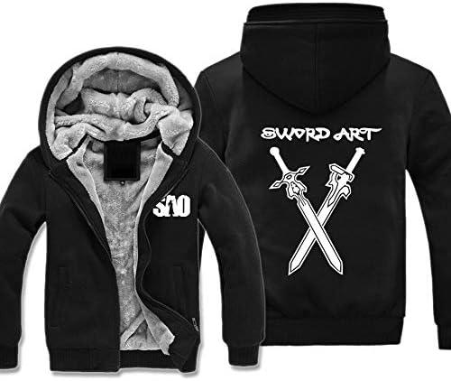 Sword Art Online Sweatshirt Jacke Herren Mit Kapuze Anime Hoodie Kapuzenpullover Reissverschluss Cosplay Kostüm Plus Dicke Top Mantel Schwarz L