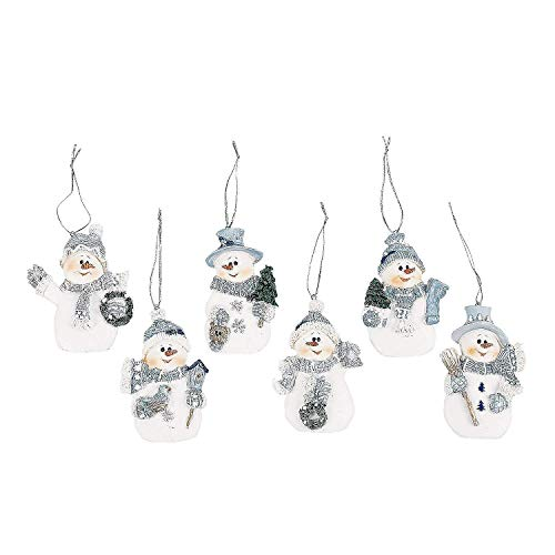 (Resin Blue Snowman Christmas Ornaments (Pack of)