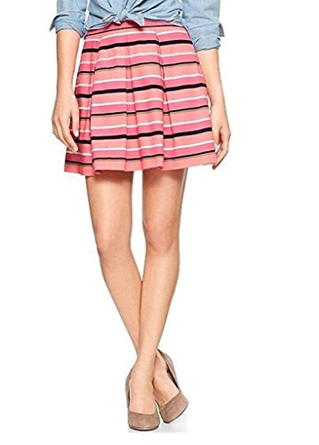 - GAP COTTON PLEATED STRIPED A-LINE SKIRT PINK COTTON HITS MID THIGH WOMEN (8)