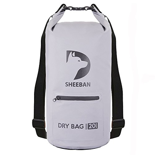Sheeban Premium Waterproof Bag [20L] Floating Roll Top Dry Sack with Front Zipper Pocket and Heavy-duty Backpack Straps for Travel and Watersports