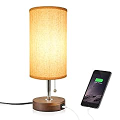 【Hong-in Solid Wood Table Lamp Minimalist Design Bedside Nightstand Lamp with USB Charging Port】 Product Description: Perfect Home Decoration With linen lamp shape, sleek wooden base, durable pull chain, it create cozy atmosphere for y...