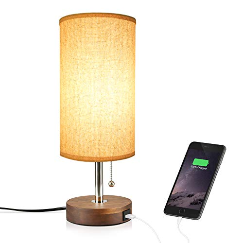Hong-in Solid Wood Table Lamp Minimalist Design Bedside Nightstand Lamp with USB Charging Port Fabric Shade for Bedroom, Living, Study Room (Round)