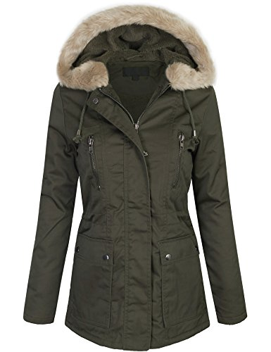 KOGMO Womens Zip Up Utility Jacket Coat with Faux Fur Lining and Hoodie-S-DARK_OLIVE