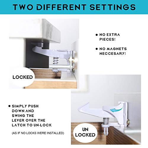 Cabinet Locks Child Safety Latches - 12 Packs Baby Proofing Cabinets Drawer Lock, No Tool No Key Needed Safety Drawer Locks for Drawers, Cabinets, Closets by Combofix (Image #4)